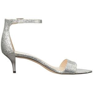 Nine West Leisa Metallic Silver Kitten Heel Sandal